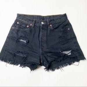 Vintage Levi's 501 black denim shorts upcycle